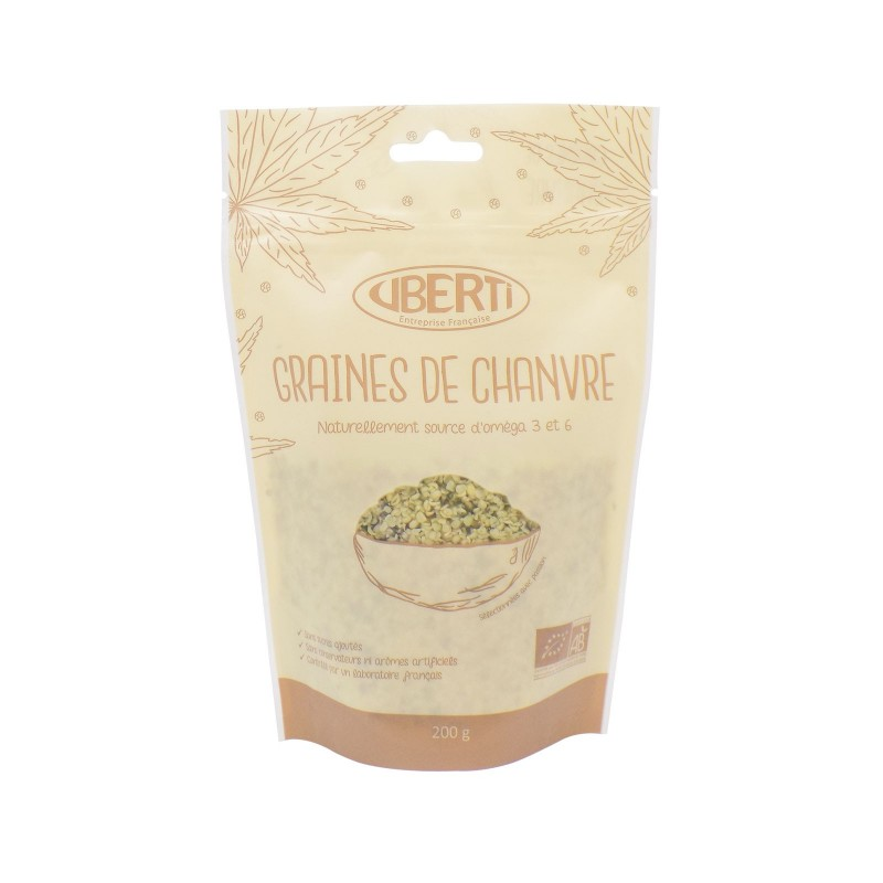 Graines de chanvre bio Uberti - Naturellement riche en oméga 3 - 150 g