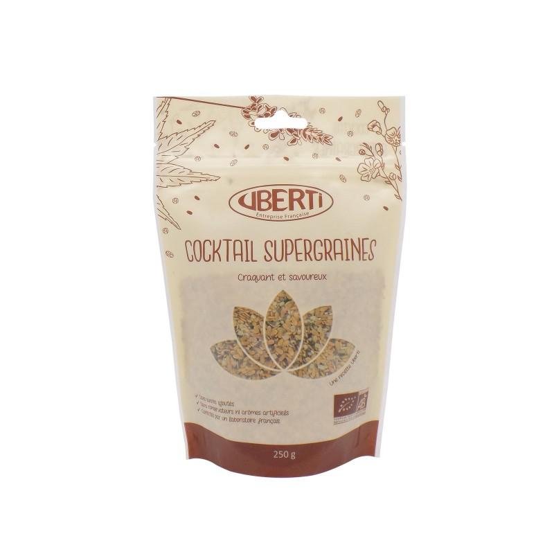 Cocktail Supergraines bio Uberti - Un savoureux mélange à base de graines oléagineuses (chia, lin, chanvre) - 250 g