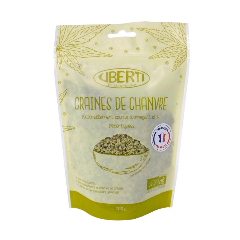 Graines de chanvre françaises décortiquées bio Uberti - Naturellement riche en oméga 3.